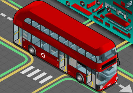 Detailed illustration of a Isometric Double Decker Bus with Open Doors in Front View Vector