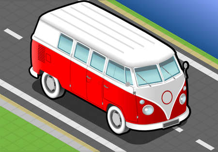 detailed illlustration of a isometric bicolor van in front view Vector
