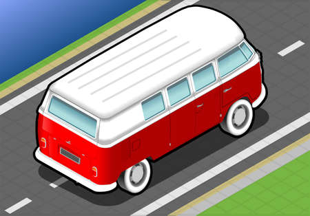 detailed illlustration of a isometric bicolor van in rear view Vector