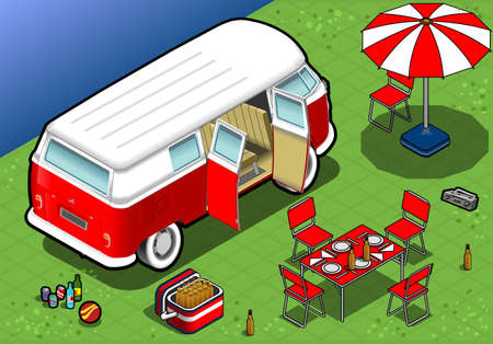 detailed illlustration of a Isometric Camping Van in Rear View Stock Vector - 20276584