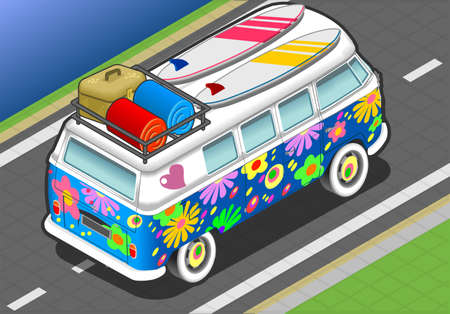 detailed illlustration of a Isometric Rainbow Van in Front View Stock Vector - 20276576