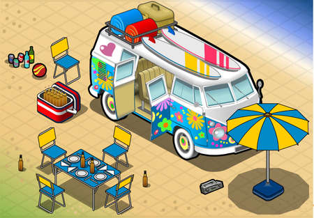 detailed illlustration of a Isometric Rainbow Van in Camping in Front View Stock Vector - 20276585