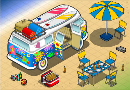 oldtimer: detailed illlustration of a Isometric Rainbow Van in Camping in Rear View