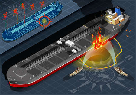 Detailed illustration of a Isometric Oil Tanker Fire Disaster in front view Vector
