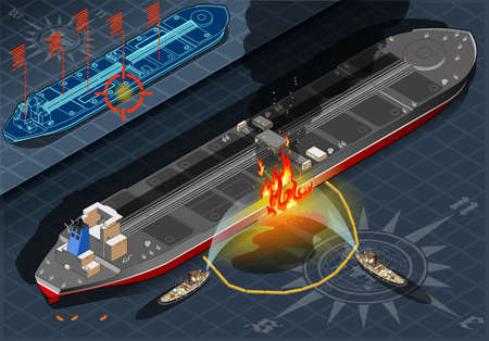 supertanker: Detailed illustration of a Isometric Oil Tanker Fire Disaster in Rear view