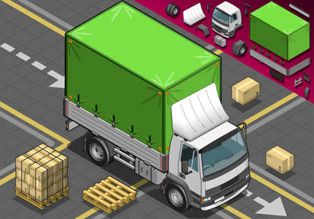 livery: Detailed illustration of a isometric Pick Up Truck with Tarpaulin in front view