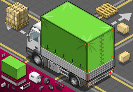 livery: Detailed illustration of a isometric Pick Up Truck with Tarpaulin in rear view Illustration