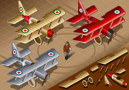 Detailed illustration of a Isometric Old Vintage Biplanes in three livery in front view Stock Vector - 20417802