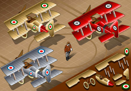 baron: Detailed illustration of a Isometric Old Vintage Biplanes in three livery in rear view Illustration