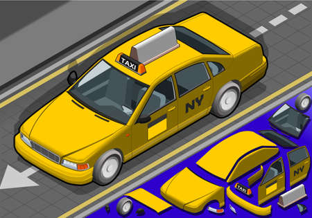 Detailed illustration of a Isometric yellow taxi in front view Vector