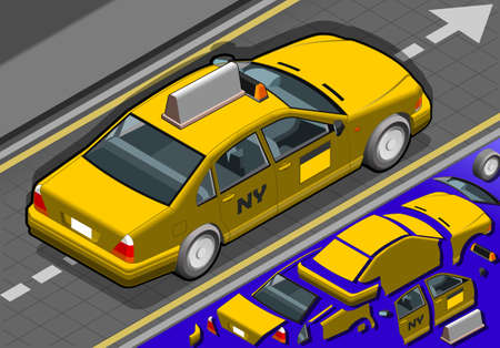 Detailed illustration of a Isometric yellow taxi in rear view Stock Vector - 20417751