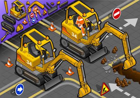apalancamiento: ilustraci�n detallada de una mini excavadora isom�trica con el hombre en el trabajo en la vista frontal Vectores