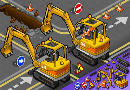 earth mover: detailed illustration of a Isometric Mini Excavator with Man at Work in rear view