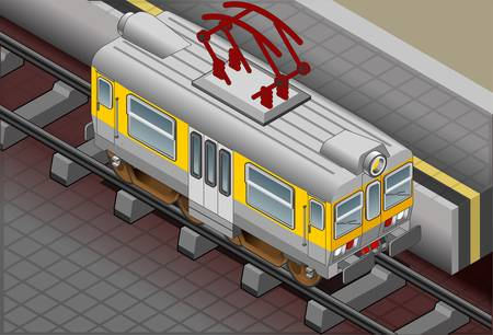 railway track: Detailed illustration of a Isometric electric train iconized