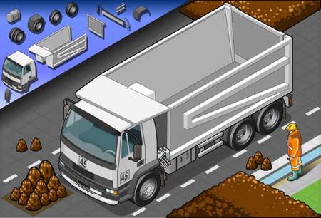 dockyard: Detailed illustration of a isometric container truck in front view Illustration