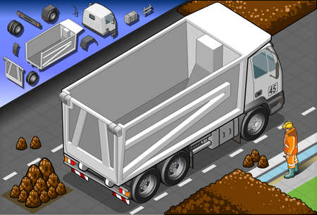 Detailed illustration of a isometric container truck in rear view  Vector
