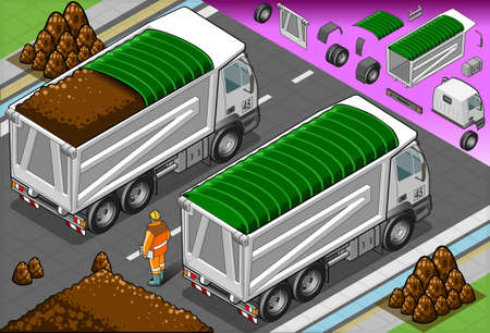 earth mover: Detailed illustration of a isometric container truck in rear view Illustration