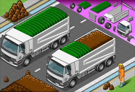 earth mover: Detailed illustration of a isometric container truck in front view Illustration