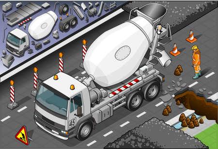 installateur: Gedetailleerde illustratie van een isometrisch cement mixer truck in vooraanzicht Stock Illustratie