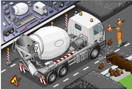 millwright: Detailed illustration of a isometric cement mixer truck in rear view
