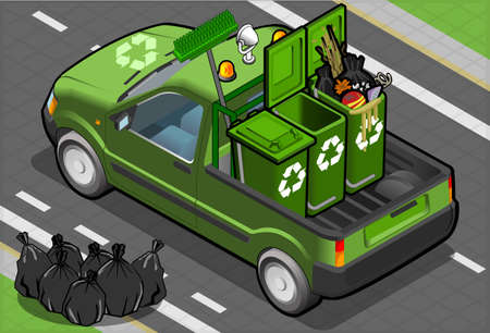 garbage bag: Detailed illustration of a Isometric Garbage Pick Up in rear view
