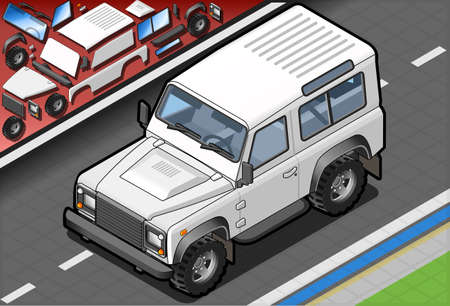 off road vehicle: Detailed illustration of a Isometric White Cross Country Vehicle in front view