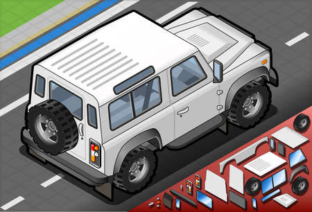 defenders: Detailed illustration of a Isometric White Cross Country Vehicle in Rear View Illustration