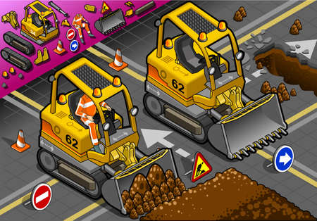 earth mover: detailed illustration of a isometric mini excavatorin front view