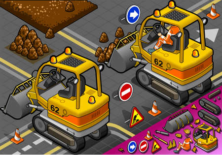 earth mover: detailed illustration of a isometric mini excavator in rear view Illustration
