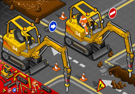 piloting: detailed illustration of a isometric worker piloting mini chisel excavator in front view