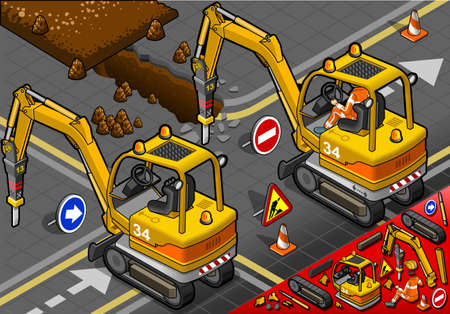 earth mover: detailed illustration of a isometric worker piloting mini chisel excavator in rear view