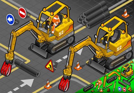 piloting: detailed illustration of a Isometric Worker Piloting Mini Mechanical Arm Excavator in Front View