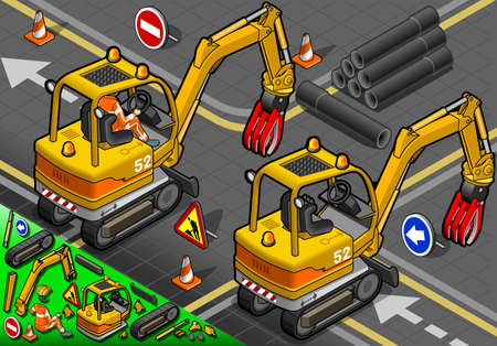 piloting: detailed illustration of a Isometric Worker Piloting Mini Mechanical Arm Excavator in Rear View Illustration