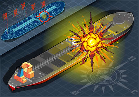 detailed illustration of a Isometric  Ship Tanker Hit by Explosion in Rear View Vector