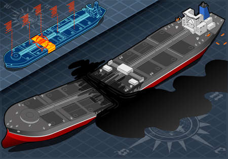 detailed illustration of a Isometric  Ship Tanker Destroyed in Two Parts in Front View Vector