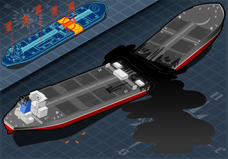 detailed illustration of a Isometric  Ship Tanker Destroyed in Two Parts in Rear View Vector