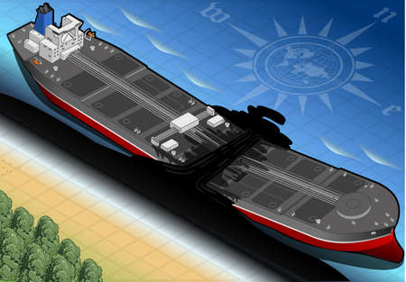 craked: detailed illustration of a Isometric  Ship Tanker Destroyed in Two Parts in Front View on the Coast Illustration