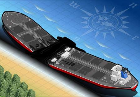 spillage: ilustraci�n detallada de un Petrolero isom�trico nave destruida en dos partes en Vista posterior de la Costa Vectores