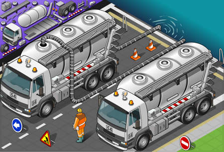 Detailed illustration of a isometric liquid tank truck in front view Vector