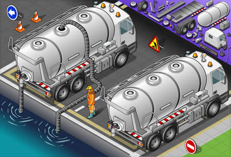 Detailed illustration of a isometric liquid tank truck in rear view Vector