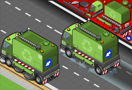 sweeper: Detailed illustration of a isometric garbage cleaner truck in rear view