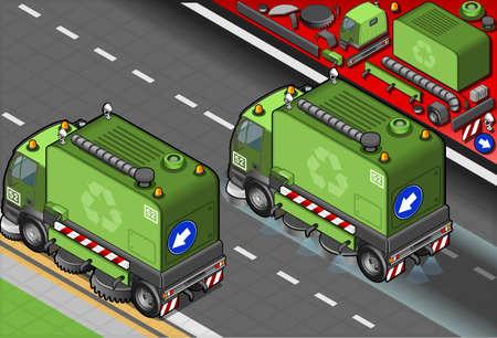 Illustration détaillée d'un camion de nettoyage des ordures isométrique en vue arrière
