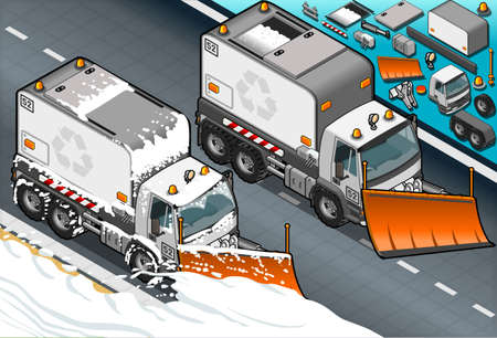 plow: Detailed illustration of a isometric Snow Plow truck in  front view