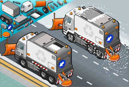 Detailed illustration of a isometric Snow Plow truck in rear view Vector