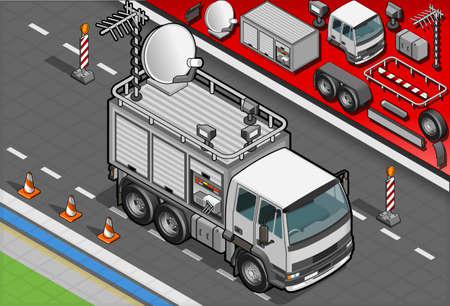 Detailed illustration of a Isometric Broadcast TV Truck in front view Vector