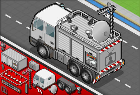 news van: Detailed illustration of a Isometric Broadcast TV Truck in rear view