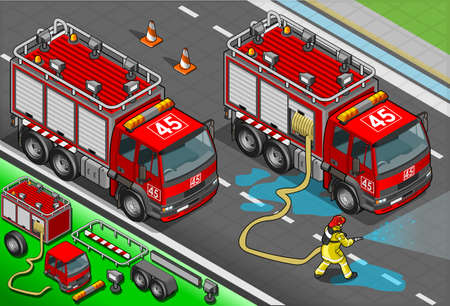 Detailed illustration of a Isometric Firefighter and Truck in front view Vector