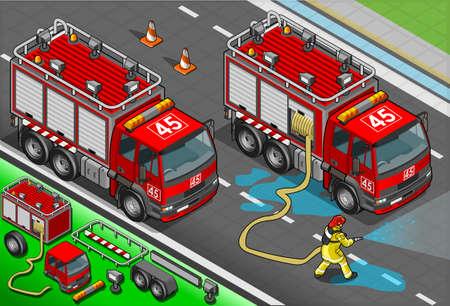 bombero de rojo: Ilustraci�n detallada de un bombero isom�trica y camiones en la vista frontal Vectores
