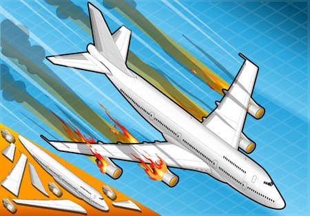 boeing: Detailed illustration of a Isometric airplane falling down with engines on fire