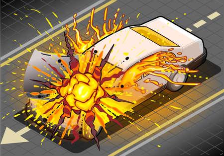 car crash: Detailed illustration of a Isometric White Car in Explosion Illustration